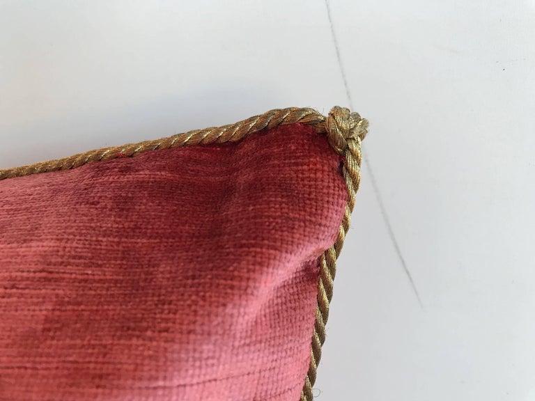 European Antique Ottoman Raised Gold Metallic Embroidery Pillow For Sale