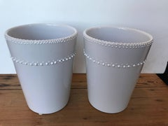 Pair of White Ceramic Vases/Cachepots