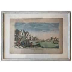 18th Century Vue D'optique Hand-Colored Engraving of the Palais Royal