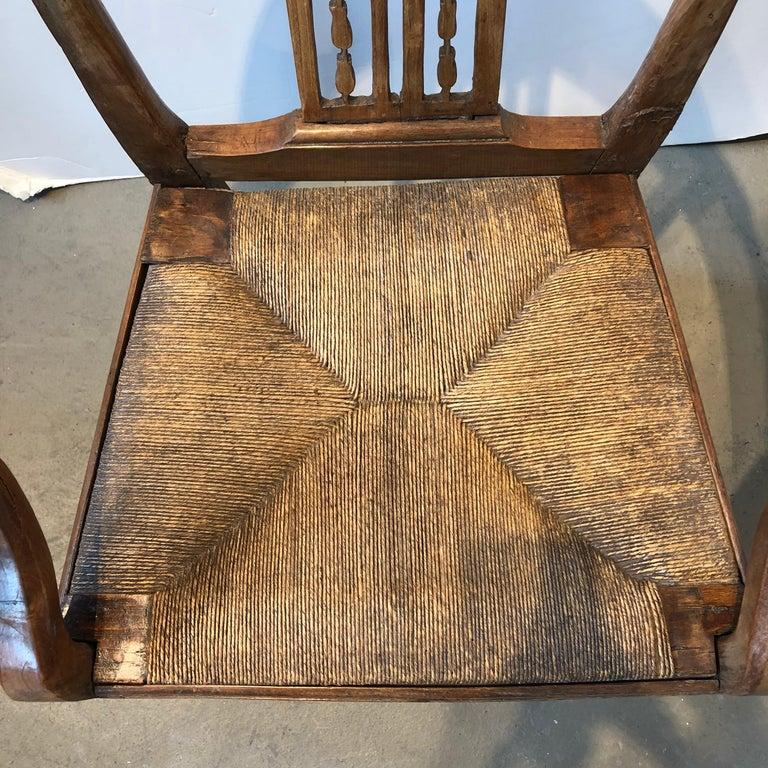 Rush 18th Century Italian Fruitwood Corner Armchair For Sale