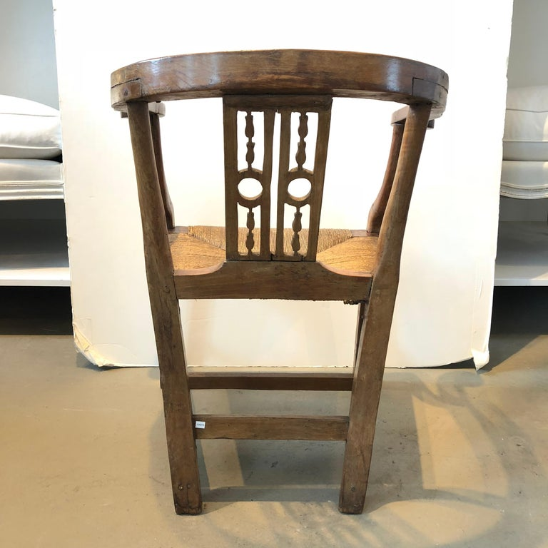 18th Century and Earlier 18th Century Italian Fruitwood Corner Armchair For Sale