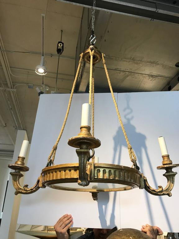 19th Century, French Four-Arm Giltwood Chandelier with Rope In Good Condition For Sale In Boston, MA