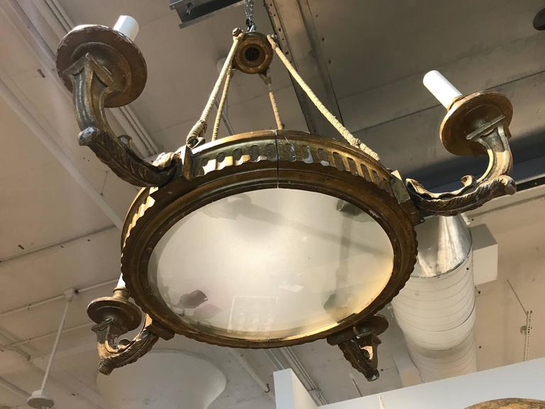 19th Century, French Four-Arm Giltwood Chandelier with Rope For Sale 1