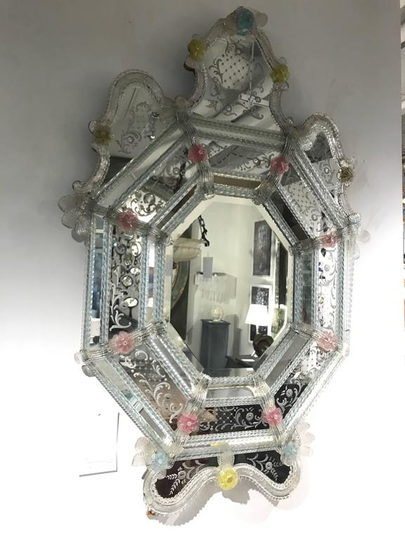 19th Century Venetian Mirror with colored glass flowers.