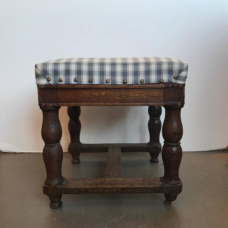 French 19th Century Upholstered Stool with Nailheads For Sale