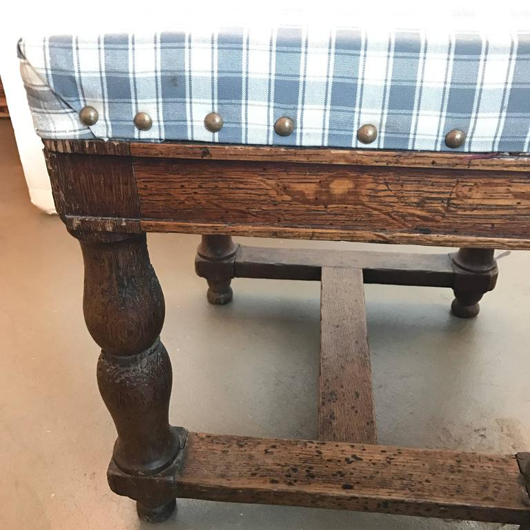 19th Century Upholstered Stool with Nailheads In Excellent Condition For Sale In Boston, MA