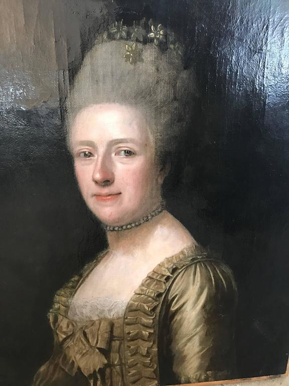 18th Century French Oil On Canvas Portrait Of Woman At 1stdibs