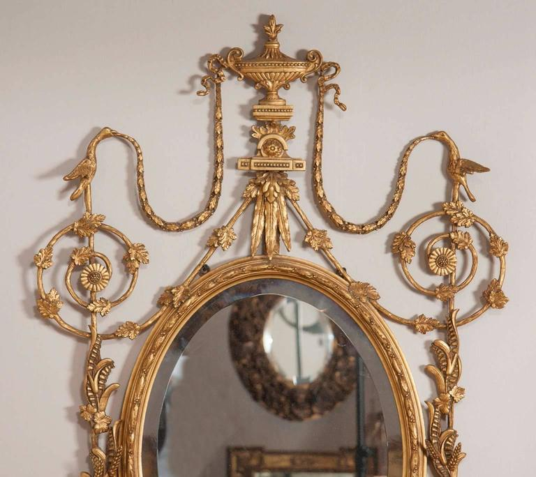 Neoclassical George III Style Giltwood Girandole Mirror For Sale