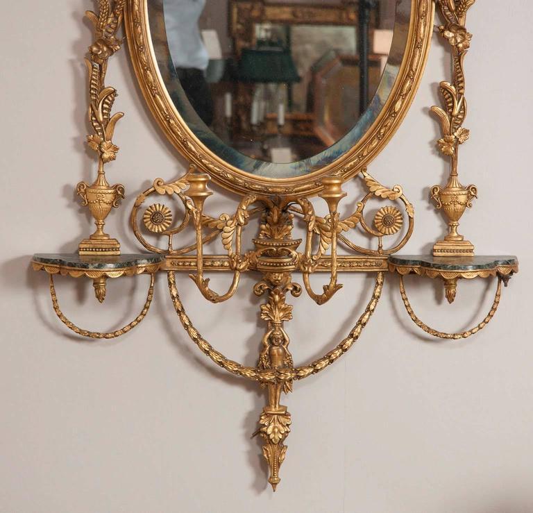 English George III Style Giltwood Girandole Mirror For Sale