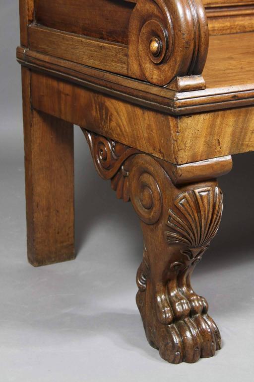 Mid-19th Century Irish William IV Carved Mahogany Hall Bench