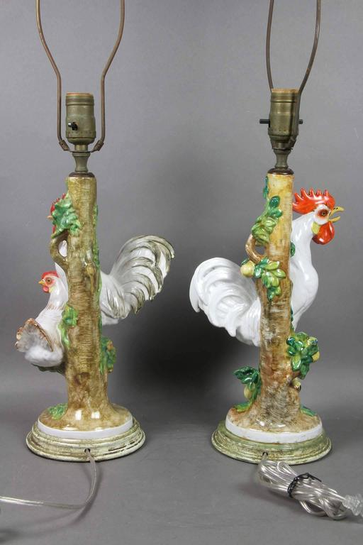 Pair of fun european porcelain rooster table lamps for for Funny lamps for sale