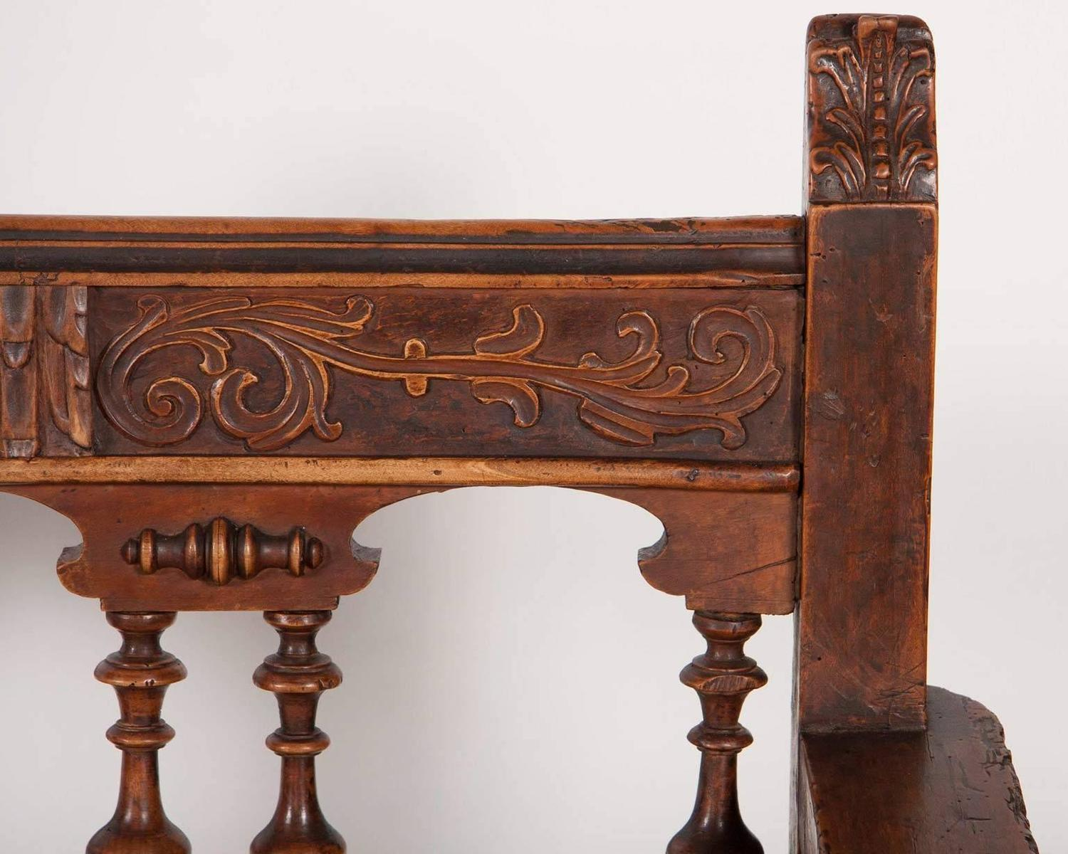 Spanish baroque carved walnut bench at 1stdibs for Spanish baroque furniture
