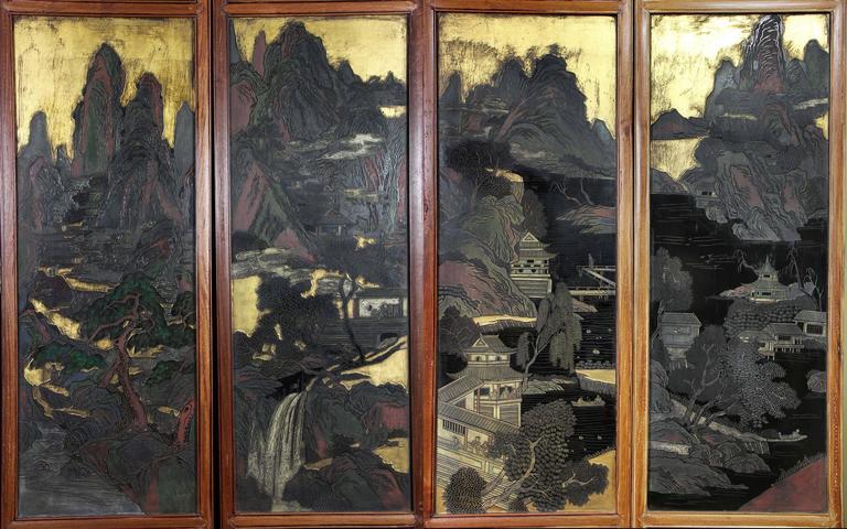Late 19th Century Chinese Coromandel Six-Panel Screen