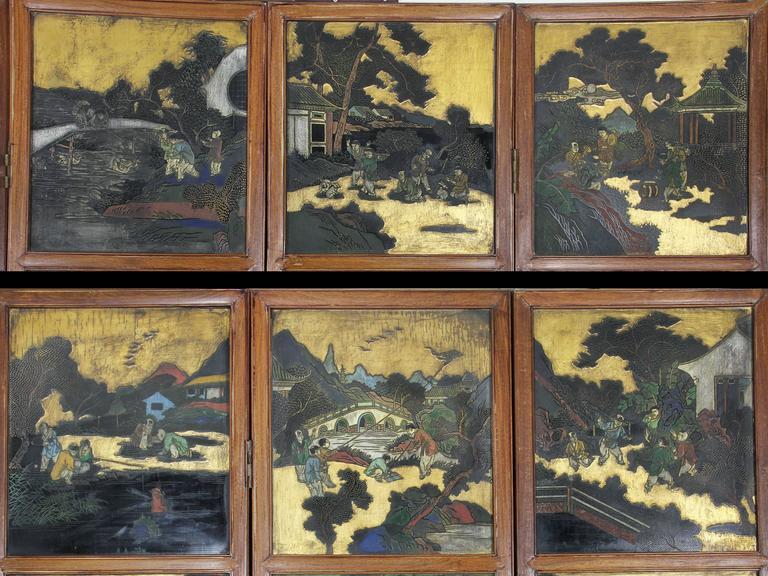 Chinese Coromandel Six-Panel Screen 2