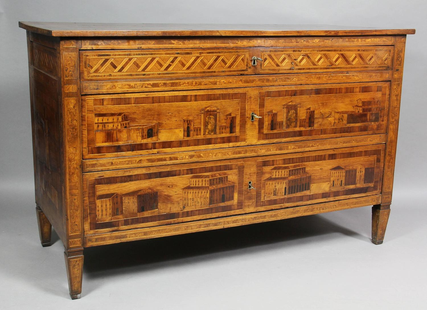 italian neoclassical parquetry and walnut commode for sale at 1stdibs. Black Bedroom Furniture Sets. Home Design Ideas