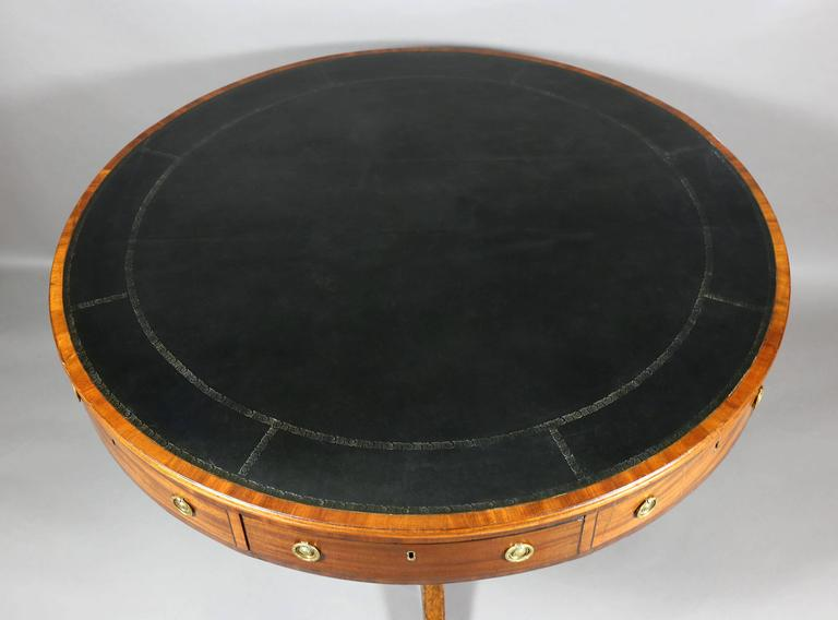 Regency Mahogany and Ebonized Drum Table In Good Condition For Sale In Essex, MA