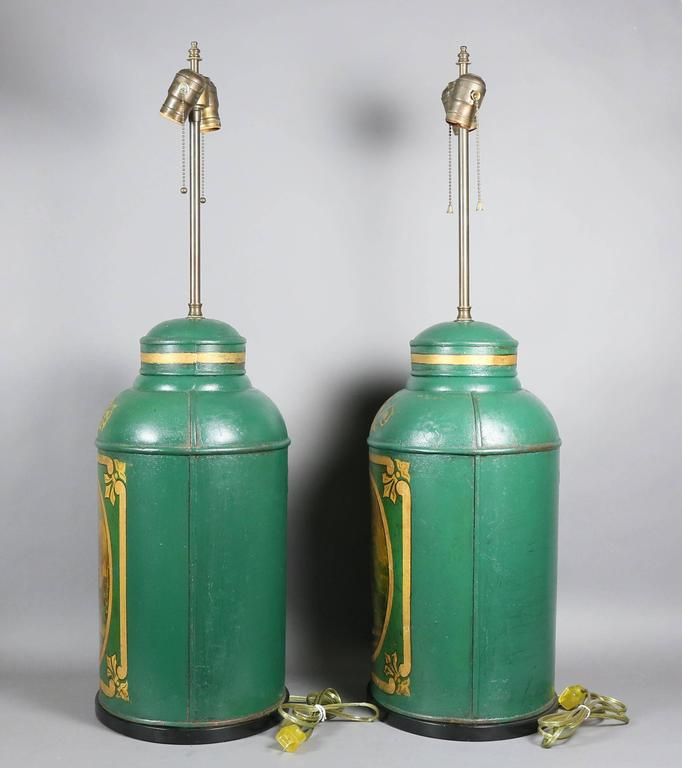 English Pair of Victorian Tole Tea Canister Table Lamps For Sale