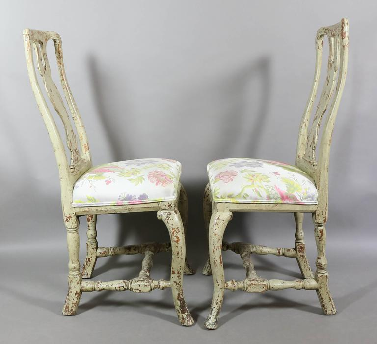 Pair of Swedish Rococo Painted Side Chairs For Sale 1