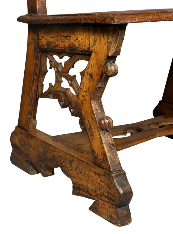 Gothic Fruitwood Bench For Sale 2