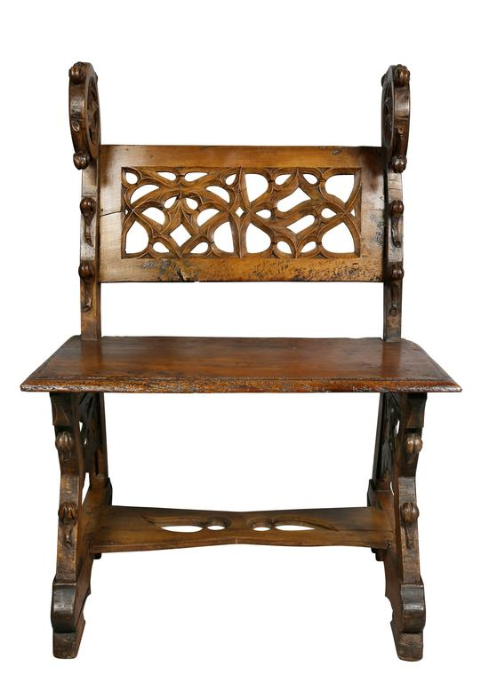 Gothic fruitwood bench constructed from period elements.