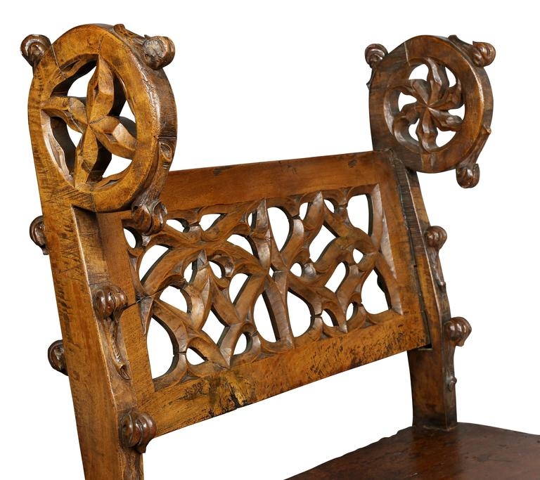 French Gothic Fruitwood Bench For Sale