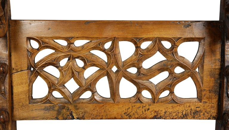Gothic Fruitwood Bench In Good Condition For Sale In Essex, MA