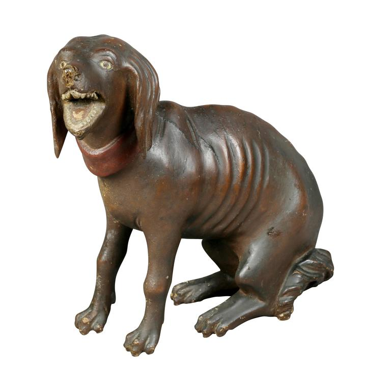 Unusual Painted and Carved Wood Dog