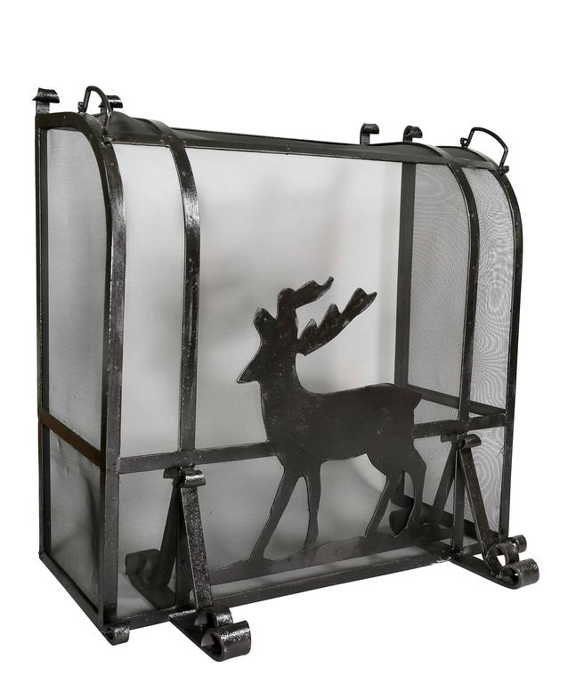 Of heavy gage wrought iron with central figure of a standing deer, with curved top with carrying handles, enclosed sides and scrolled feet.