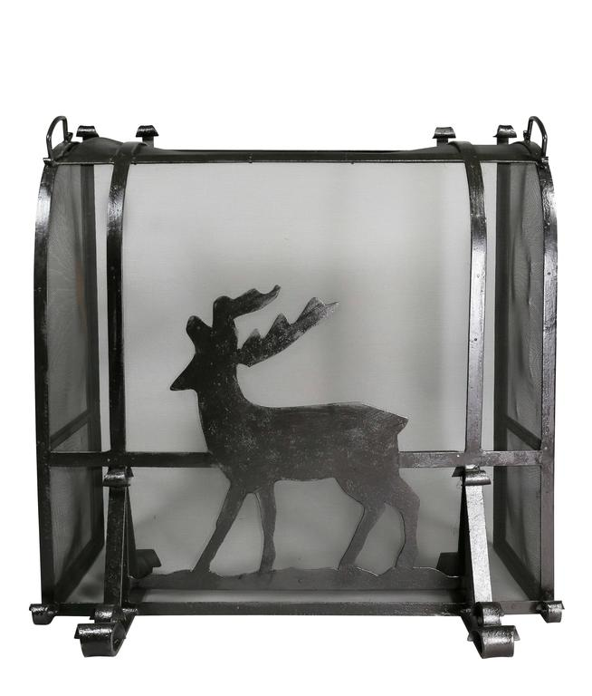 Arts and Crafts Wrought Iron Fireplace Screen In Good Condition For Sale In Essex, MA