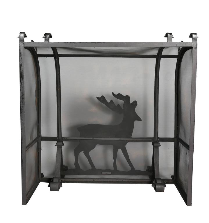 Arts and Crafts Wrought Iron Fireplace Screen For Sale 2