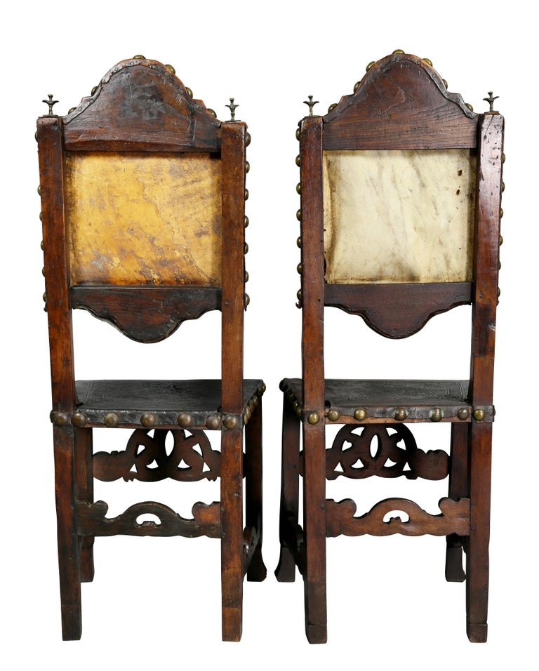 Pair of Portuguese Baroque Walnut Side Chairs For Sale 6