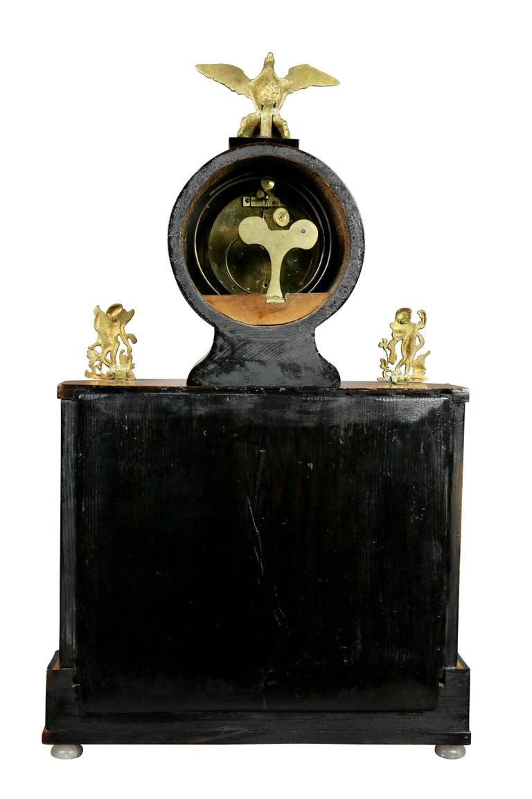Biedermeier Pearwood and Bronze Mounted Mantle Clock 4