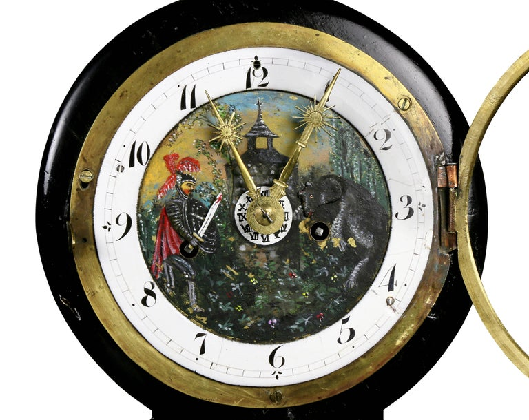 Austrian Biedermeier Pearwood and Bronze Mounted Mantle Clock