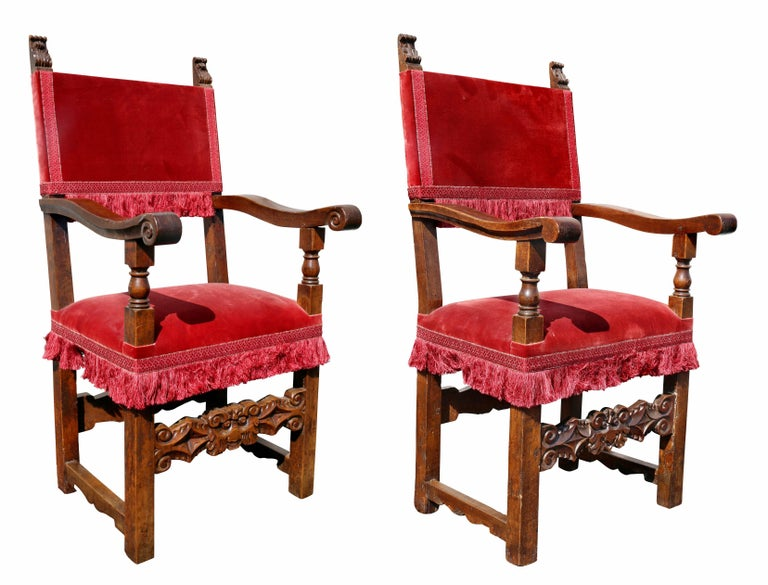 Each with carved acanthus finials upholstered backs and seats, scrolled arms raised on square legs with carved stretchers. Fogg Estate, Brookline Ma.
