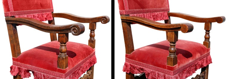 Assembled Set of Six Italian Baroque Walnut Dining Chairs In Good Condition For Sale In Essex, MA