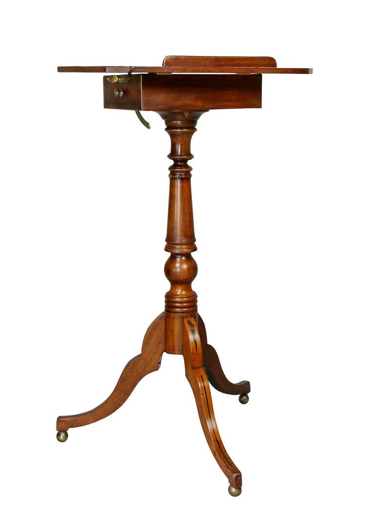 English Regency Mahogany and Ebony Inlaid Music Stand For Sale