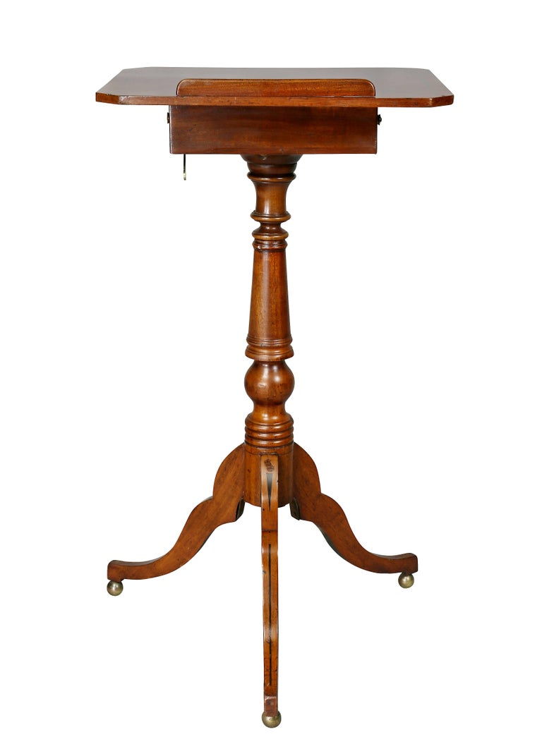 Regency Mahogany and Ebony Inlaid Music Stand In Good Condition For Sale In Essex, MA