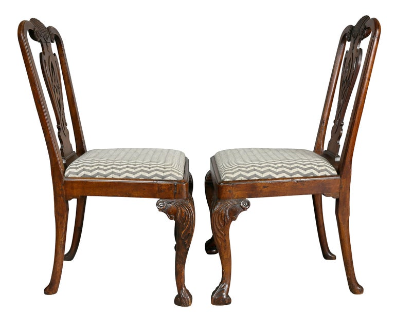 Pair of George II Walnut Side Chairs For Sale 2