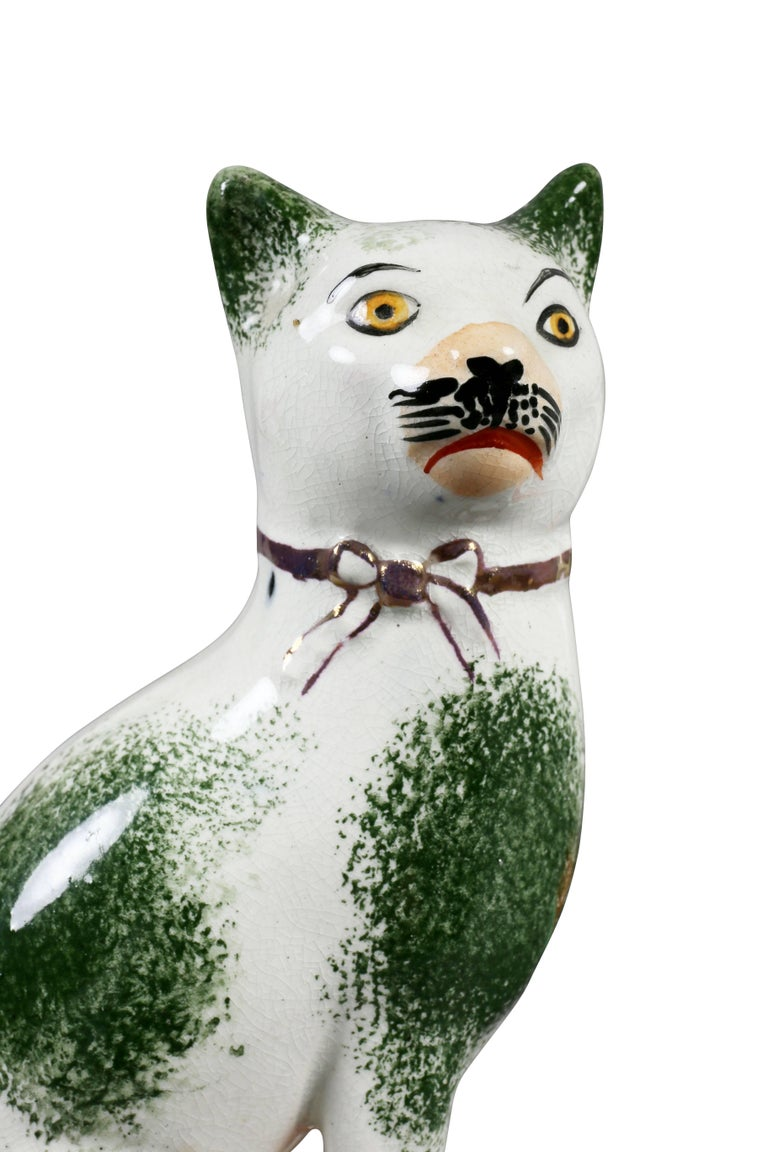 English Pair of Staffordshire Pottery Cats For Sale