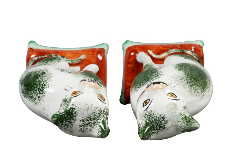 Pair of Staffordshire Pottery Cats For Sale 2