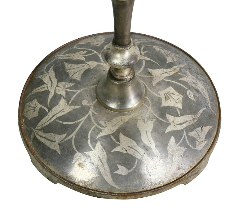 French Art Deco Silvered Bronze Decorated Floor Lamp In Good Condition For Sale In Essex, MA