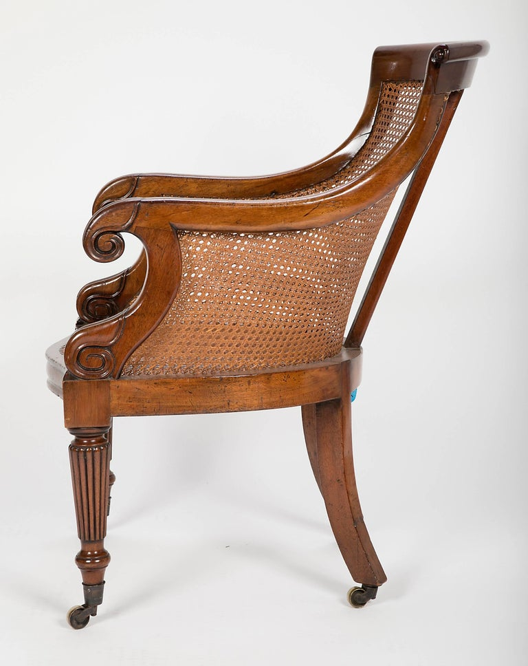 Pair of Late Regency Mahogany and Caned Bergere Chairs For Sale 1