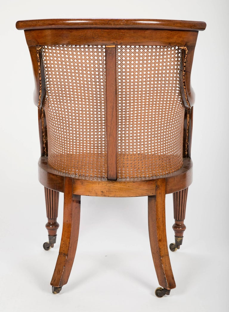 Pair of Late Regency Mahogany and Caned Bergere Chairs For Sale 5