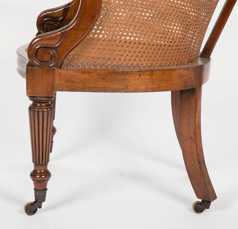 Pair of Late Regency Mahogany and Caned Bergere Chairs For Sale 3