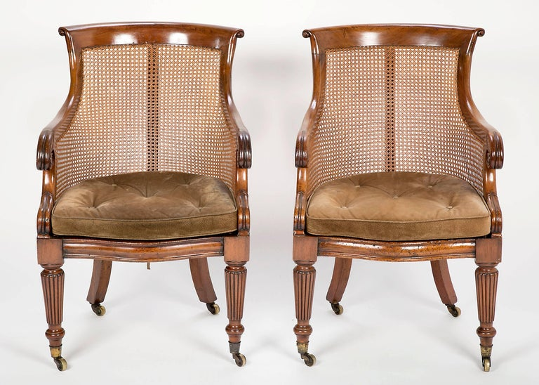 English Pair of Late Regency Mahogany and Caned Bergere Chairs For Sale