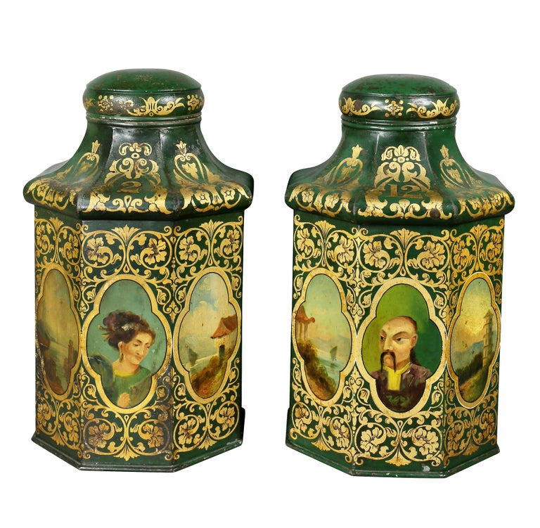Pair of Victorian Tole Teacannisters