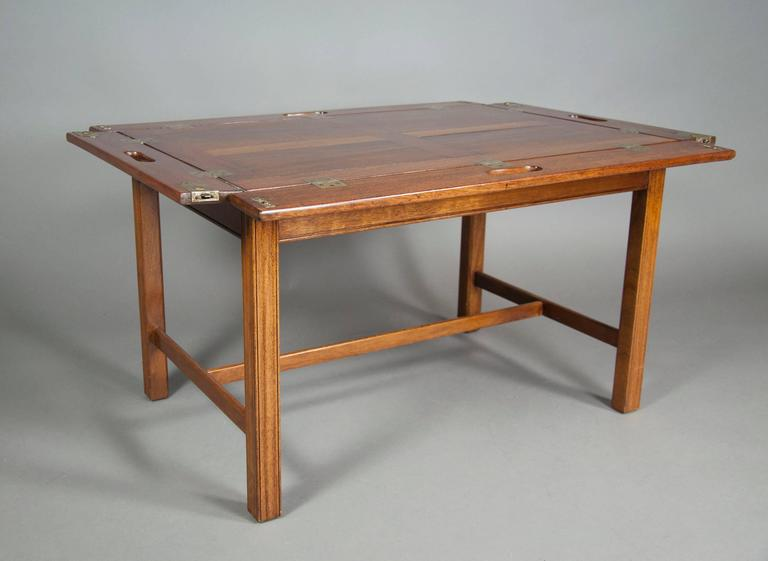 Etonnant Victorian Mahogany Campaign Style Butlers Tray Coffee Table For Sale.  Unusual With Square Ends , Brass Hinges And Panelled Top , Later Base With  H Stretcher