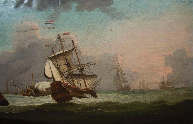Pair Of British Marine Paintings Circle Of Samuel Scott