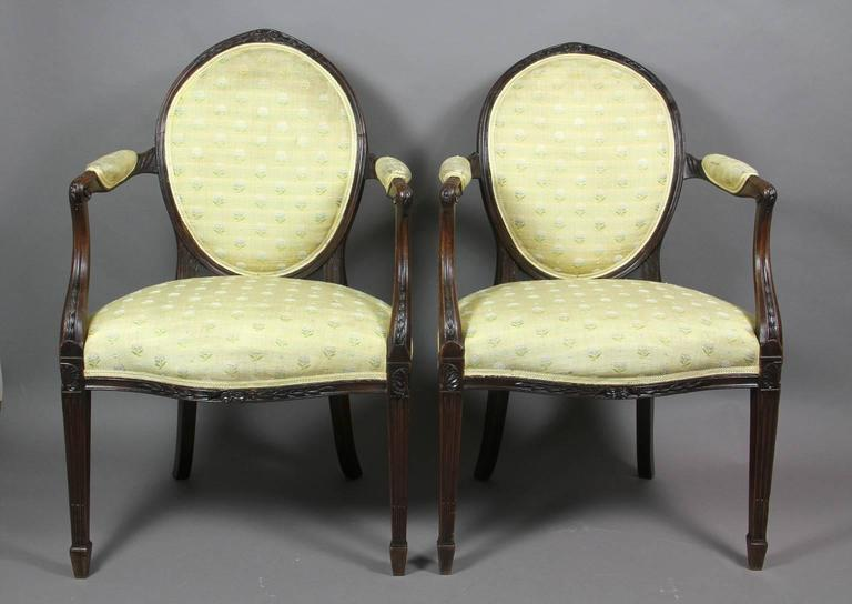 English Pair of George III Mahogany Armchairs For Sale