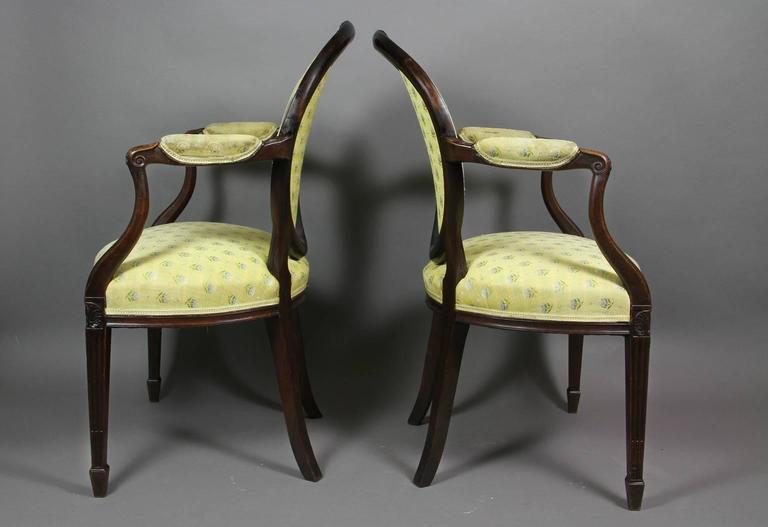 Neoclassical Pair of George III Mahogany Armchairs For Sale